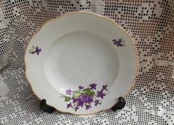 Zsolnay Ibolyás porcelán mélytányér, tányér, ritka, Gyűjtői darab. Nosztalgia