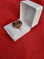 Antik női  14 k os arany gyűrű , füstkvarcal 1920 as kb