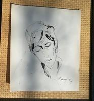 Szalay Lajos : Tus rajz. Mérete:21x24 cm.