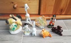 Hibás 8 db-os nipp csomag, kutya, ló, Herendi nyúl, hal, nyúl, Bodrogkereszturi madár stb