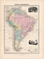 Dél - Amerika térkép 1880, francia, atlasz, eredeti, 34 x 47 cm, Argentína, Brazília, Uruguay, régi