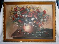 Virágcsokros csendélet, szignózott festmény. Olaj-vászon technika, ismeretlen festő munkája.