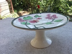 Gyönyörű majolika  talpas kínáló ünnepi asztal dísze átm.25 cm