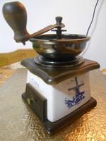 Kávédaráló fa réz porcelán holland szélmalom