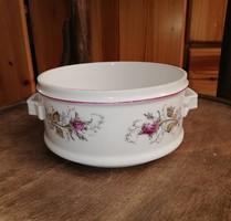 Gyönyörű vadrózsás, rózsás porcelán ételhordó darab, Gyűjtői szépség