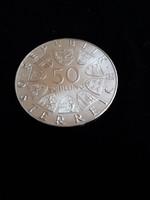 Szép ezüst 50 schilling Ausztria 20 gramm .900