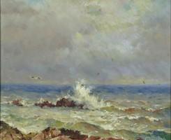 Orosz festő XX. sz. : Hullámtörő sziklák