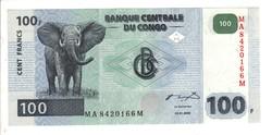 100 frank francs 2000 Kongó UNC