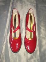 Piros alkalmi lakkcipő, női pántos cipő 42, high heel red