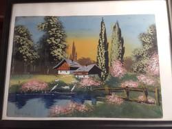 Endrédi Imre jelzéssel, 25 x 30 cm-es, tempera festmény.