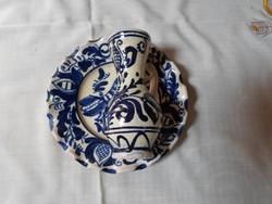 Korondi kerámia falitányér és kis bokály (népi falidísz, kék)