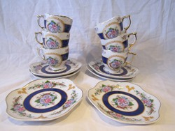 Japán aranyozott festett porcelán kávés készlet csésze és alj MGH Design 6 db