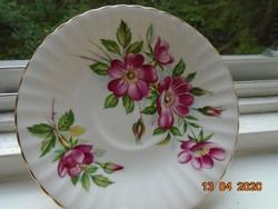Paragon,látványos vadrózsás bordázott  porcelán tányér,az Angol Királynő ajánlatával
