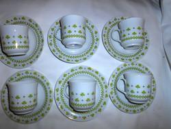 6 db Alföldi retro porcelán   kávés csésze és csészealj-kímélt-szép állapotú