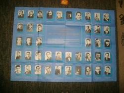"""""""A magyar haladó ifjúsági mozgalmak jeles vezetőinek arcképcsarnokából"""" - 85,5 x 61 cm -retro plakát"""