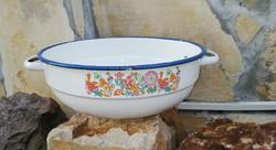 Bonyhádi 28 cm-es Madaras zománcos tál, Nosztalgia darab, paraszti dekoráció