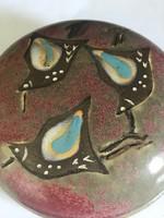 Kerámia bonbonier vagy ékszeres doboz kézzel festett madarakkal