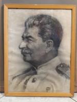30 x 45 cm-es, Sztálin portré, tusrajz, keretezve, emlék a sötét múltból.