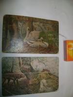 Két darab régi képeslap - hattyús, vadász jelenetes