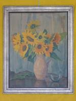 Anna Gasteiger Virágcsokor Csendélet  aquarell, fa