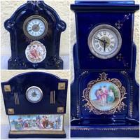 Kollekció: antik kék biedermeier porcelán kandalló órák hiánytalan szerkezetekkel festmény betéttel