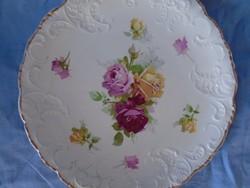 Szépséges angol porcelán majolika dísztányér ritka domború mintázattal 25,5 cm XIX sz.