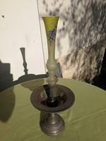 Szecessziós mesterjeles ón kínáló tál asztalközép üveg vázával