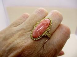 Gyönyörű  nagyméretű antik aranygyűrű rodokrozittal 7.64g
