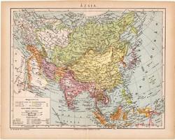 Ázsia térkép 1892, eredeti, régi, Athenaeum, magyar, 24 x 31 cm, India, Kína Tibet, politikai