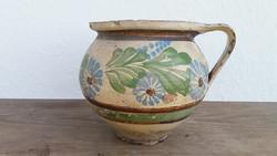 Régi népi cserépkorsó festett kék virágos korsó 20 cm