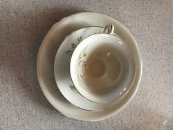 KPM Német porcelán kávés csésze + alj + sütis tál süteményes