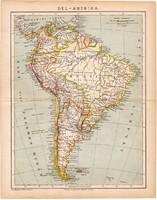 Dél - Amerika térkép 1892, eredeti, régi, Athenaeum, Brockhaus, Brazília, Tűzföld, Argentína, Andok