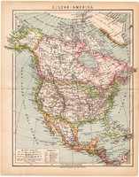 Észak (Éjszak) - Amerika térkép 1892 (2), eredeti, Egyesült Államok, régi, Athenaeum, Brockhaus