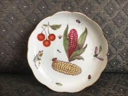 Óherendi (antik Herendi) gyümölcs mintás kistányér/csészealj - kukoricás, katicás