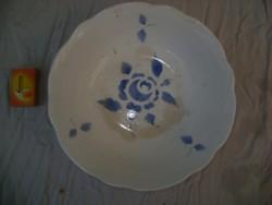 Régi, belül kék rózsás gránit tál