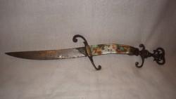 Különleges régi réz szerelékes kés , tőr