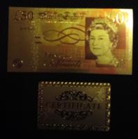24 kt arany 50 fontos bankjegy exclusív ajándék