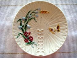 Schütz Cilli tányér lepkés mezeivirágos majolika fali dísz 20 cm