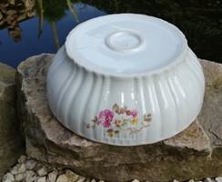 Virágos Zsolnay porcelán pogácsás tál, Nosztalgia darab, paraszti dekoráció, Gyűjtői szépség