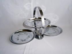 Különleges összecsukható 3 tálcás ezüst színű fém sütemény kínáló asztalközép rózsa mintával