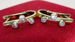 Gyönyörű régi 0,5ct gyémántköves aranyfülbevaló