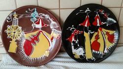 Mázas kerámia fali tányér, absztrak falidísz 2 db  eladó!