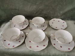 Zsolnay rózsa mintás teás csészék + aljak