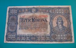 1000 Korona -1923 július 1. -  Budapest  - sorozat: B 47