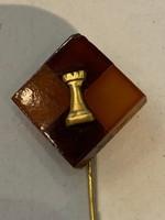 Borotyán arany sakk kitűző