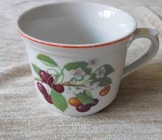 Csehszlovák (cseh) porcelán bögre, gyümölcsmintás