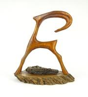 1A167 Faragott fa kőszáli kecske szobor talapzaton 22 cm különleges fafaragás
