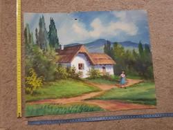 Aranyos akvarell festmény, a régiek stílusában! 40x48 környékén