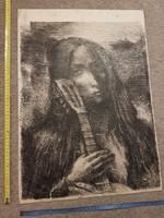 Mona Lisa alulról exponálva, gitárral! Grafika, tus, őrülten aprólékos munka