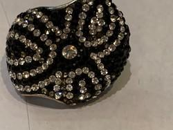 Ezüst fekete köves gyűrű